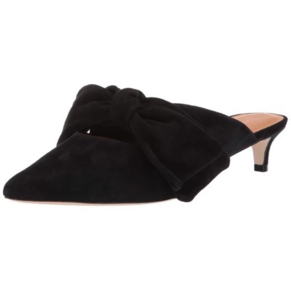 NEW Joie Caleah Suede Mule Bow Point Toe Black 8.5